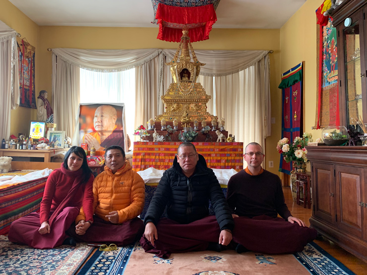 Photo taken before The Holy Stupa inside the private room of His Holiness Pema Norbu Rinpoche, Upstate New York