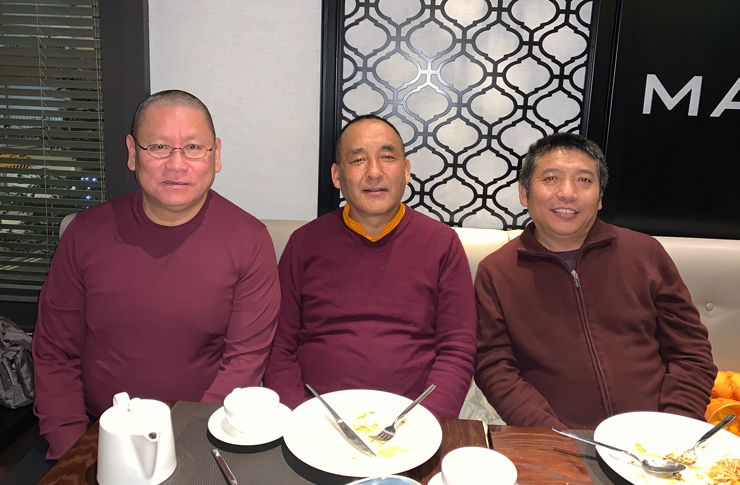 Lama Dondrup Dorje Rinpoche with Khenpo Nyima Dondrup Rinpoche and Lama Pasang in the UK