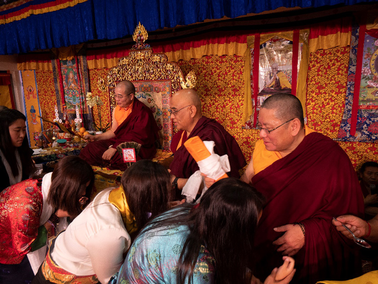 Khenpo Tenzin Norgay Rinpoche and Lama Dondrup Dorje Rinpoche assisting to give the empowerment