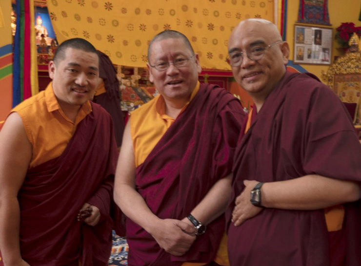 Khenpo Pema Tsering (left) with Lama Dondrup Dorje Rinpoche and Khenpo Tenzin Norgay (right)'
