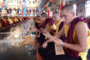 Students of the Ngagyur Nyingma Institute reciting Gangyur (sacred texts on Buddha's teaching) at Namdroling Monastery, India