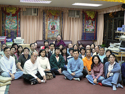Ven. Lama Dondrup Dorje with students in Hong Kong
