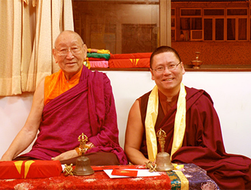 Ven. Lama Dondrup Dorje with the late Choedrag Gyatso Rinpoche